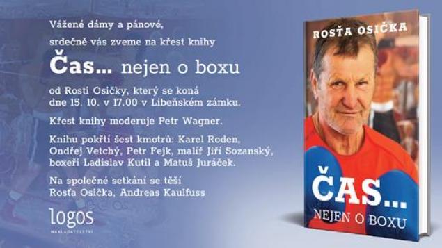 Pozvánka na křest knihy ČAS... NEJEN O BOXU od Rosti Osičky.
